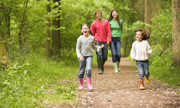 Прогулка всей семьей в лесу