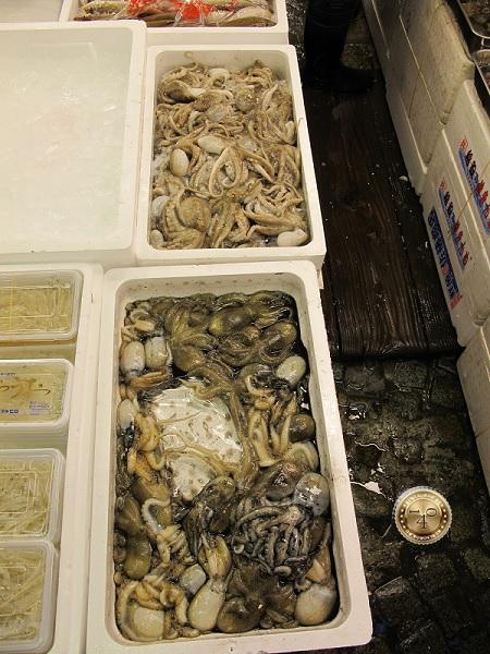 Кальмары и каракатицы на рыбном рынке в Токио