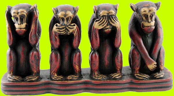 Четырк кераммческих обезьяны