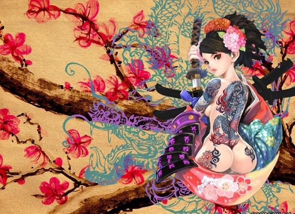 Японская красавица на дереве