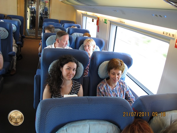 Внутри вагона поезда Сапсан