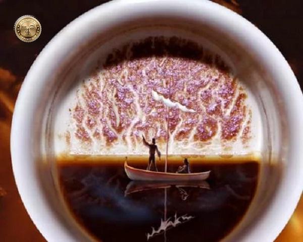 лодка из кофейной гущи