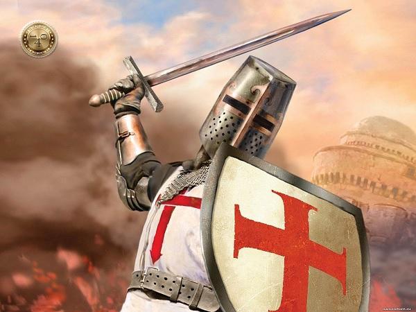 бой рыцаря с охраной