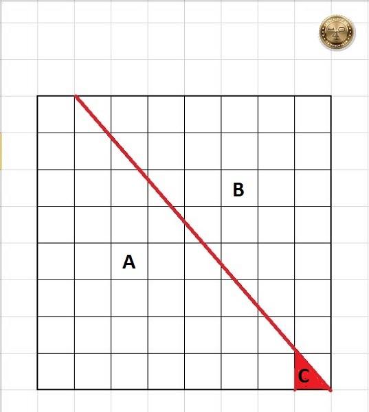 квадрат с красным кусочком