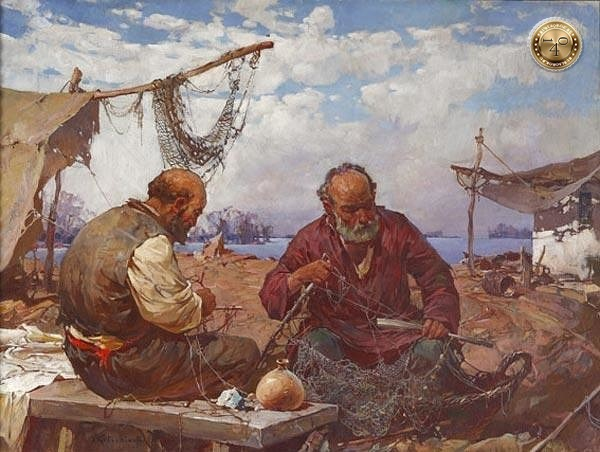 рыбаки перед чинят сети