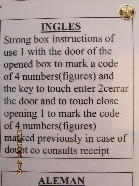 инструкция на английском языке