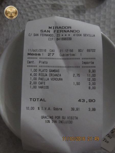 счет в кафе в Севилье