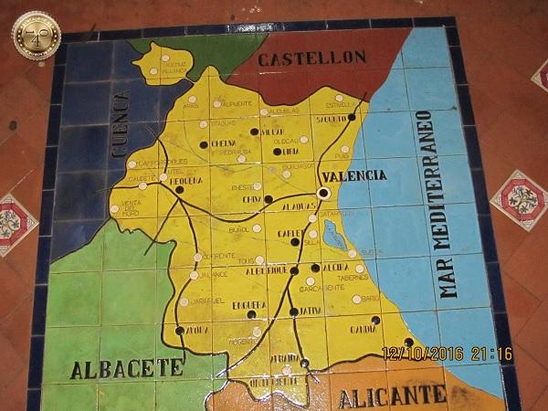 карта Валенсии на площади Испании