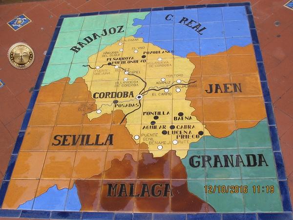 карта Кордобы в нише этой провинции Испании