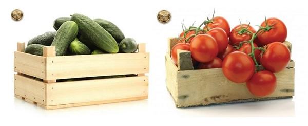огурцы и помидоры в ящиках