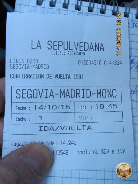 Билет Сеговия-Мадрид