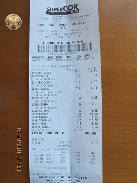 Чек из супермаркета в Мадриде
