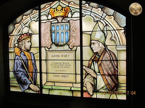 Витраж с королём и папой